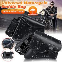 Left Right Motorcycle Side Saddlebag Luggage Pannier Case & Fuel Bottle Holder