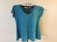 Eileen Fisher Blue V-neck Shirt Top Short Sleeve Women's Medium 100% Linen AS IS