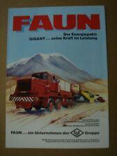 FAUN  Gigant  Heavy duty trucks - Schwerlast Zugmaschine  brochure / Prospekt