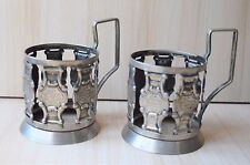Two Vintage Collectible Retro Metal Russian Tea Glass Holders Podstakanniks