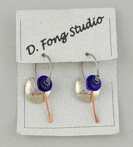 Sterling Wire Blue Glass Bead Artisan Earrings D. Fong Studio