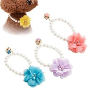US Dog Pet Pearls Necklace Collar Charm Elastic Flower Pet Puppy Jewelry Collar