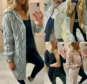 Women Ladies Cardigan Cable Knitted Oversized Long Hooded Chunky Jumper Cape Top