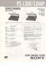 SONY Service Manual Konvolut PS-LX60/LX60P LX62/LX62P LX70 - B2090