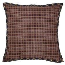 "Beckham Rustic Red Brown & Gold Plaid Filled Pillow Black Bias Cut Trim 16""x16"""