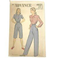 Vintage 1940s Advance Sewing Pattern 4821 Shirt Pants Pedal Pushers Unused PT