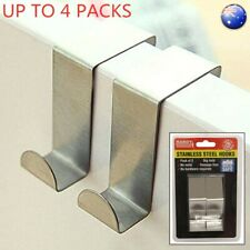 2/4pcs Over Door Hooks Stainless Kitchen Cabinet Clothes Hanger Organizer Holder