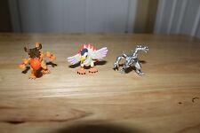 3 Digimon Pokemon Mini Figures Bandai Action Greymon metal RARE