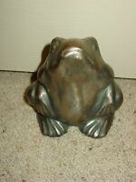 Vintage Cast Iron Figural Frog Toad Doorstop ? Paperweight Garden Country Accent