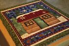 Green Red Lodge Cabin 21 x 26 Handmade Quilted Table Runner