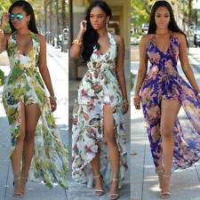 Womens Boho Floral Halter Backless Long Maxi Dress Summer Beach Cocktail Party