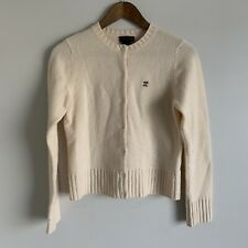 Ralph by Ralph Lauren Women's Cream Lambswool button L/S Cardigan Sweater size S