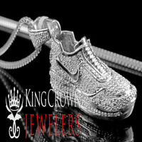 Men's New 10k White Gold On Sterling Silver Shoe Sneaker Real Diamond Necklace