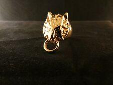 Biker Ring Wolf Tier 24 Karat Vergoldet Skull Edelstahl Gold 20,0mm Nasenring