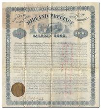 Midland Precinct, Nebraska RR Bond Certificate (Omaha & Republican Valley RR)