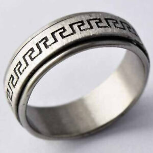 Mens Womens Band Ring Stainless Steel Rings Hip Hop Spinner Rings Jewelry Size10