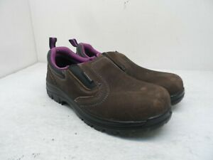 Avenger Women's A7165 Composite Toe Leather WP Slip-On Work Shoes Brown 8W