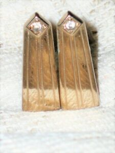 """VINTAGE CUFFLINK LONG GOLD TONE """"TOWER"""" WITH CLEAR RHINESTONE AT TOP ANSONS"""