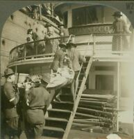 Wounded Being Transferred to Hospital Ship. Ferry Shinnecock - WW1 Stereoview