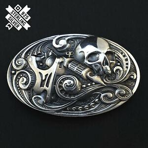 Tattoo machine belt buckle, Handmade skull tattoo solid 925 Sterling Silver