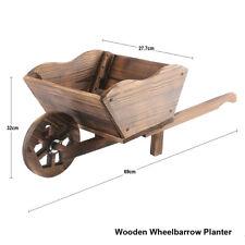 More details for garden modern wooden wheel barrow planter burnt wood flower cart ornamental pot