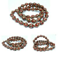 Artisan Handmade Nice Ethnic Tibetan Nepalese Brass 50 Masala Beads Coral Stone