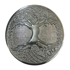 KILT BELT BUCKLE CELTIC TREE OF LIFE CIRCULAR SILVER FINISH/SCOTTISH BELT BUCKLE