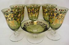"""Lot of Six Green Goblet SC Line Made in Italy Gold Leaves Hand Blown Glass 5.5"""""""