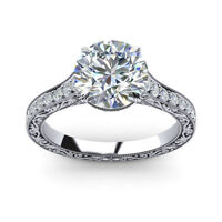 0.75 Carat Round Cut Diamond Engagement Ring 14K Solid White Gold Size 5 4