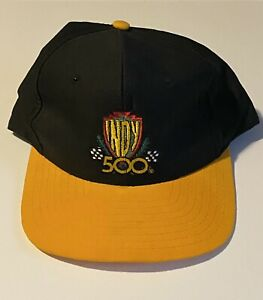 Vintage Indy 500 Signatures Brand Snapback Hat Black/Yellow Checkered Flag Race