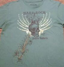 Hard Rock Cafe t-shirt Puerto Vallarta (L) Green Color, Skull w/ Wings, Guitar