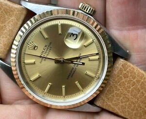 1971 Rolex Oyster Perpetual 1601 Datejust 36mm Two Tone Original Dial 1570 RUNS
