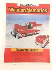 Vtg Wooden Memories 57 Shevro Sleigh Full Scale Woodworking Pattern Christmas