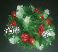 Vintage Christmas Plastic Evergreen Pine Cone Fruit Centerpeice Candle Wreath