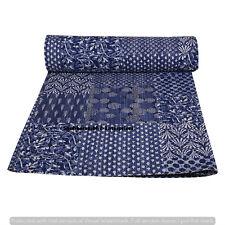 Indian Indigo Blue Cotton Bed Sheet Hippie Hand Stitched Throw Coverlets Kantha