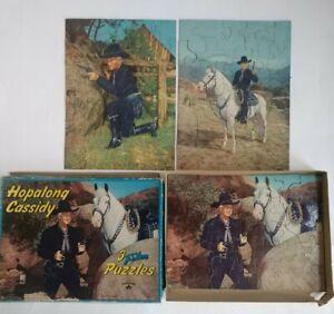 3 Vintage Milton Bradley Hopalong Cassidy Film Puzzles in the Original Box 4105