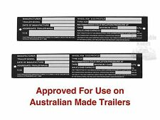 2X Aluminium Trailer Vin Plate Boat Car Horse Float Compliance ID Tag Pair NEW