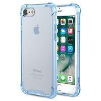 For iPhone 7 8 Plus Transparent Clear Blue Hard Bumper Protective PC Case Cover
