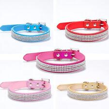 Adjustable Bling Diamond Rhinestone Crystal Pet Puppy Cat Dog Collar PU Leather
