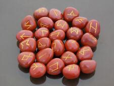 Red jasper crystal runes gemstone viking rune stones set healing runic symbols
