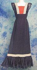 ViNTAGE 70s ReTrO RED WHiTE BLUE POLKA DOT LACE HiPPiE CHiC MAXi PRAiRiE DRESS S