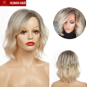 BLONDE UNICORN Black Beige White Wavy Bob Ombre Human Hair Wigs for Women Lady