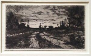 Mary Nimmo Moran (1842-1899) Original Etching Twilight Woods Easthampton NY