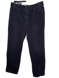 Polo Ralph Lauren Hammond Pant 36x32 Navy Blue  Pleated Cuffed Corduroy Vintage