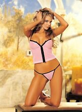 Pink / Black Mesh Camisole Hook & Eye Front G-string One Size Shirley 96024