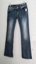 Miss Me Womens Four Point Medallion Boot Cut Jeans Med Blue MP6228B2 Sz 29 - NWT
