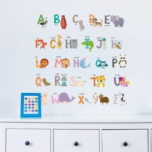 26 Letters Alphabet Animals Wall Stickers For Kids Rooms Home Decor Children
