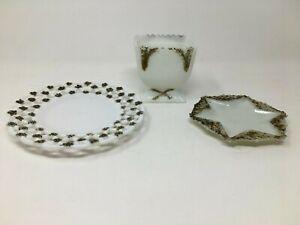 Antique Victorian Milkglass Set 3 Piece Trinket Dishes Bathroom Decor