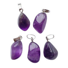 5 x AMETHYST Gemstone Crystal Beads NUGGET Pendants Charms