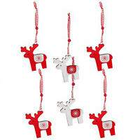 Pack of 6 Wooden Reindeer Hanging Christmas Tree Decorations / Ornaments Red & W